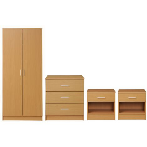 4 Piece Bedroom Furniture Set Wardrobe Chest Drawers 2 Bedside Table Beech