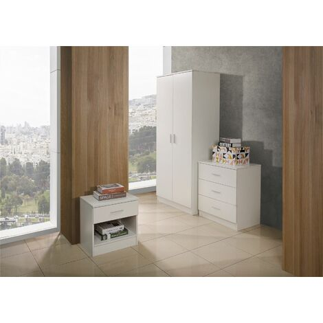 4 Piece Bedroom Furniture Set Wardrobe Chest Drawers 2 Bedside Table White