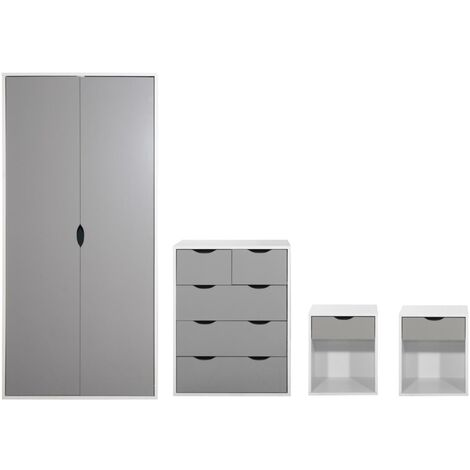 4 Piece Bedroom Furniture Set Wardrobe Chest Drawers 2 Bedsides White & Grey
