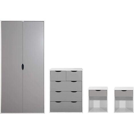 4 Piece Bedroom Furniture Set Wardrobe Chest Drawers 2 Bedsides White & Grey