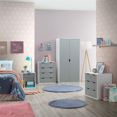 4 Piece Bedroom Furniture Set Wardrobe Chest Drawers Bedside White & Grey
