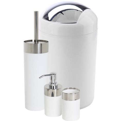 4 Piece Bin, Dispenser, Tumbler & Toilet Brush Set - White & Chrome
