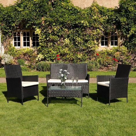 4 Piece Black Rattan Effect Garden Furniture Set