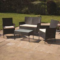 4 Piece Brown Rattan Effect Garden Furniture Set