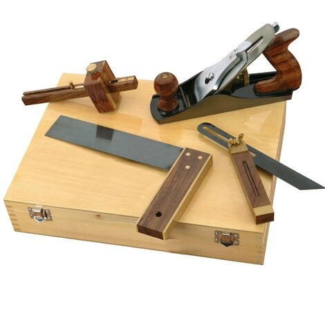 4 Piece Carpenters Woodworking Tool Kit Planes Try Square Bevel + Wooden Case