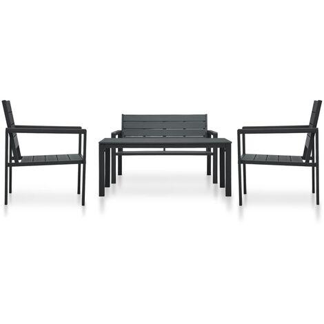 4 Piece Garden Lounge Set HDPE Black Wood Look