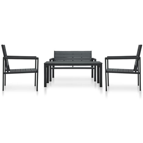 4 Piece Garden Lounge Set HDPE Black Wood Look