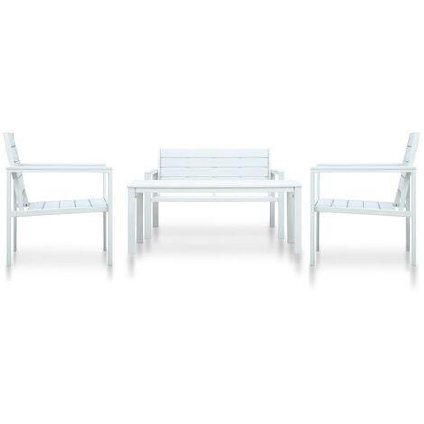 4 Piece Garden Lounge Set HDPE White Wood Look