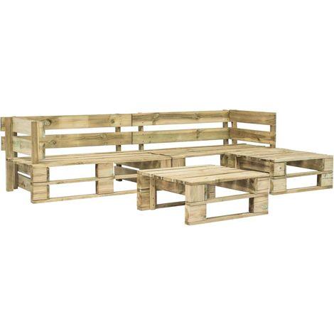 4 Piece Garden Lounge Set Pallets FSC Wood Green
