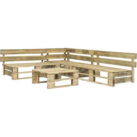 4 Piece Garden Lounge Set Pallets Wood - Brown