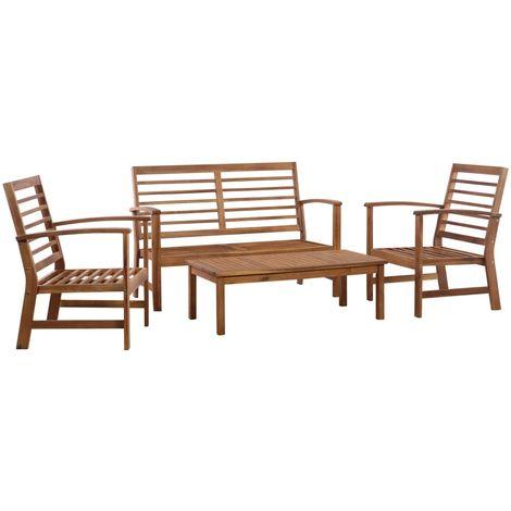 4 Piece Garden Lounge Set Solid Acacia Wood