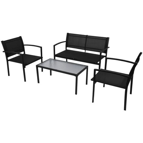 4 Piece Garden Lounge Set Textilene Black - Black