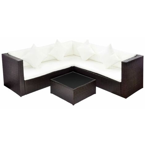 4 Piece Garden Lounge Set with Cushions Poly Rattan Brown