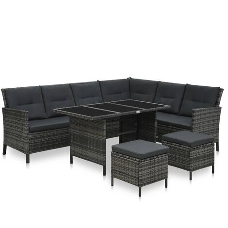 4 Piece Garden Lounge Set with Cushions Poly Rattan Grey