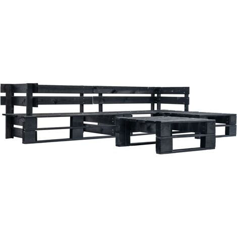 4 Piece Garden Pallet Lounge Set Black Wood
