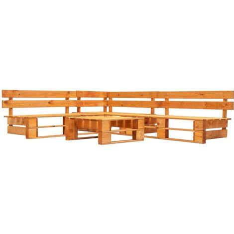 4 Piece Garden Pallet Lounge Set Wood Honey Brown