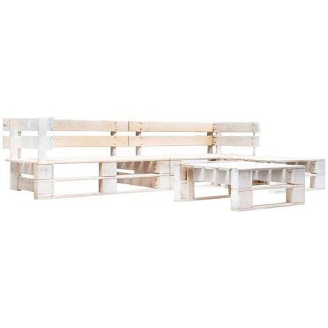 4 Piece Garden Pallet Lounge Set Wood White