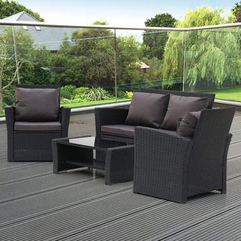 """main image of """"4-Piece Garden Rattan Sofa Set Combination Dark Gray Cushion with Coffee table-Different Color"""""""