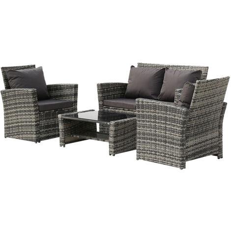"main image of ""4-Piece Garden Rattan Sofa Set Combination Dark Gray Cushion with Coffee table-Black - Black"""