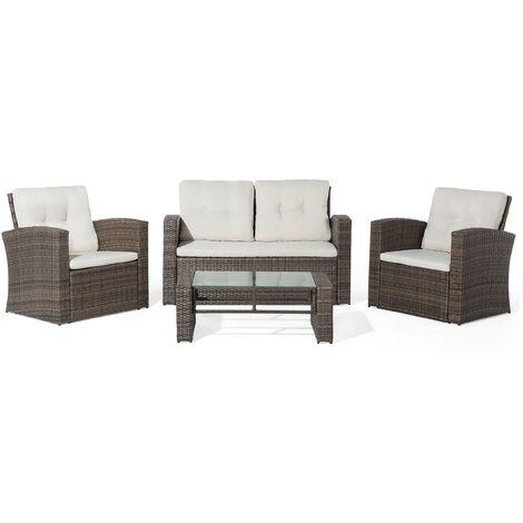 "main image of ""4-Piece Garden Sofa Set Wicker PE Rattan Cushioned Seat Brown Luca"""