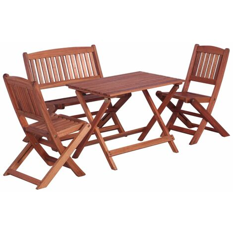 4 Piece Outdoor Dining Set for Children Solid Eucalyptus Wood