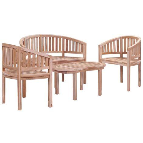 4 Piece Outdoor Dining Set Solid Teak Wood - Brown