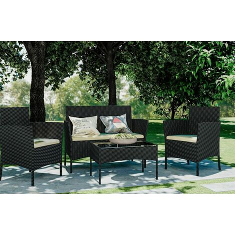 4 piece Patio Rattan furniture sofa Weaving Wicker includes 2 Armchairs,1 Double seat Sofa and 1 table