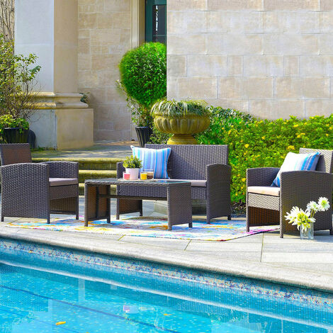 """main image of """"4 Piece Rattan Garden Outdoor Sofa Set with Coffee Table - Brown"""""""