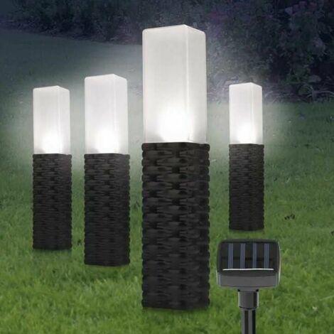 4 piece Rattan Solar Post Lights