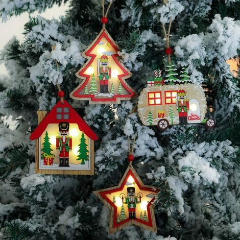 4 Pieces Christmas Wooden Pendants DIY Wooden Pendant Christmas Tree Decorations and Party Decorations with LED (Type3)