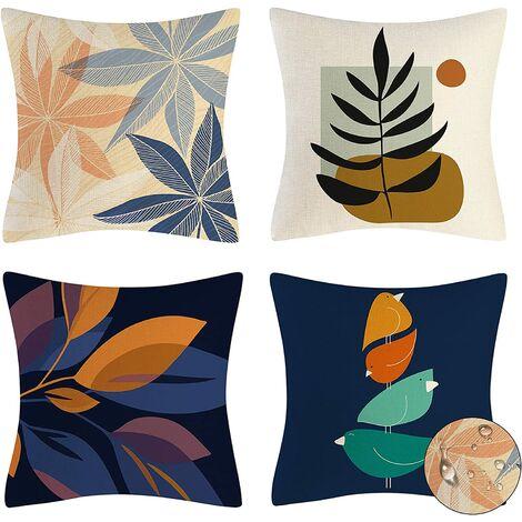 4 pièces de housse de coussin, taie d'oreiller décorative en lin, taie d'oreiller intérieure et extérieure imperméable, housse de coussin décoratif canapé canapé de salon 45 x 45 cm (plantes)