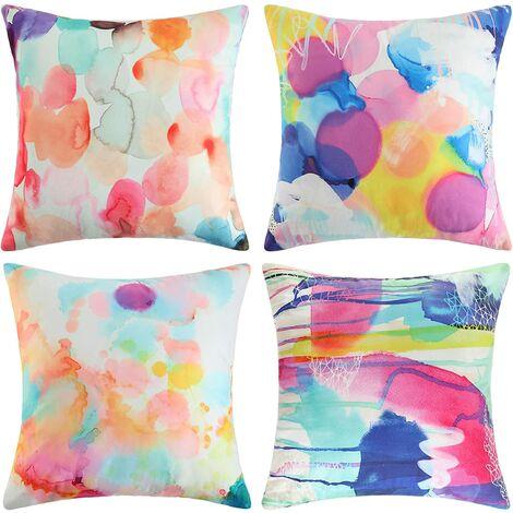 4 pièces de taies d'oreiller colorées, taies d'oreiller décoratives aux motifs recto-verso modernes et simples, adaptées aux fauteuils du canapé du salon, 45 x 45 cm