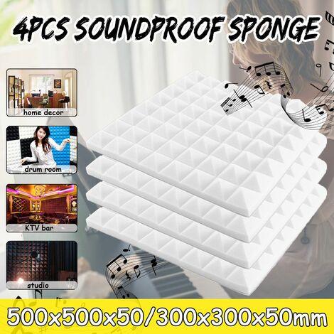 4 pièces / ensemble 500x500x50mm panneaux acoustiques insonorisation Studio mousse traitement insonorisation pour l'école de bureau à domicile KTV (blanc, C-500x500x50mm)