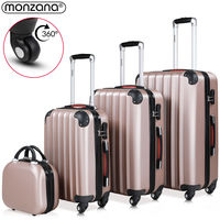 4 Pieces Hard Shell Suitcase Set Monzana® Baseline M / L / XL Beautycase