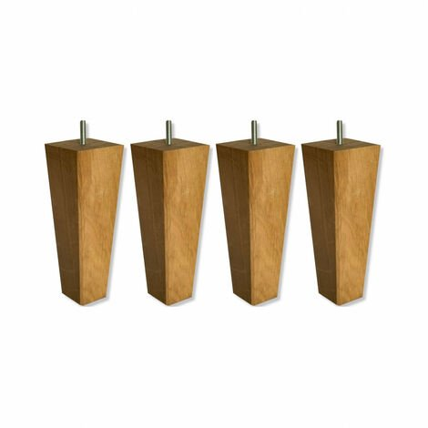 4 pieds coniques chêne massif 20 cm - Bois naturel
