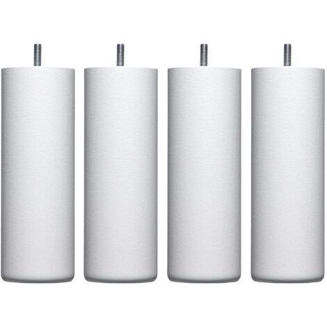 4 pieds cylindriques bois blanc 30 cm - Blanc
