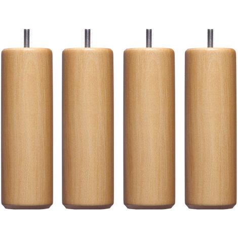 4 pieds cylindriques bois naturel 10 cm - Naturel