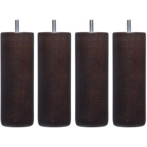 4 pieds cylindriques bois wengué 25 cm - Wengué