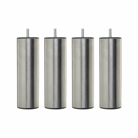 4 pieds cylindriques inox 15 cm - Gris