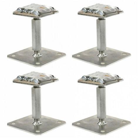 4 Pieds de poteau réglables APR110/150 + Kits prêts à fixer SIMPSON