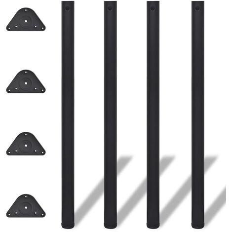 4 pieds de table réglables en hauteur Noir 1100 mm