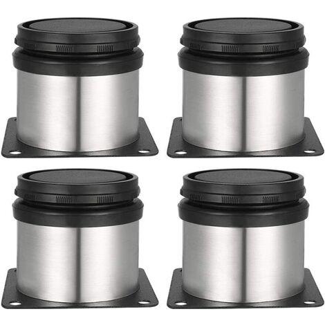 4 Pieds Réglables 50 mm De Hauteur Épaissir les pieds d'armoire Pieds de table Pieds de meubles, Acier inoxydable brossé, Hauteur réglable 0-15 mm Venez avec des vis en acier inoxydable