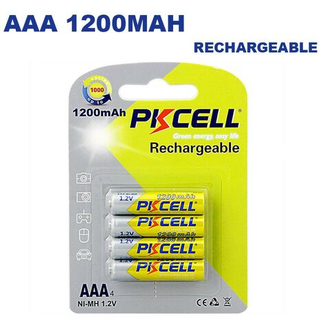 4 Piles Rechargeables AAA 1200mAh 1.2V PKCell