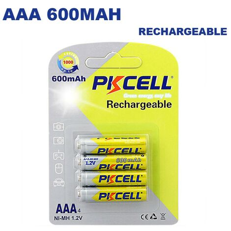 4 Piles Rechargeables AAA 600mAh 1.2V PKCell