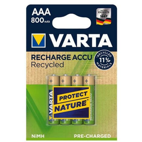 4 piles rechargeables AAA 800mAh Varta Recycled (56813101404)