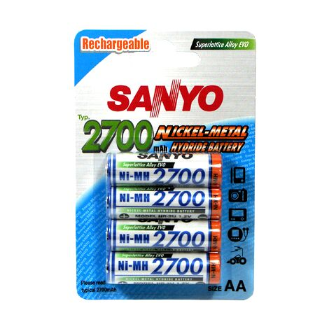 4 piles rechargeables accu Panasonic AA LR6 1.2V 2700mAh
