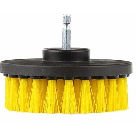 4 Pouces de Diameter en Détailler Spinning Puissance Nylon Brosse à récurer avec Changement de l'arbre Rapide Quarter inch Jaune