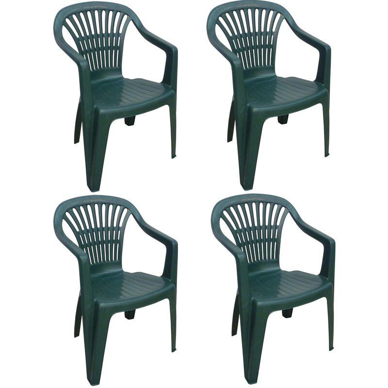 4 Pz Poltrona sedia monoblocco Scilla in dura resina di plastica verde impilabile con braccioli per giardino sagra bar campeggio esterno - SAVINO