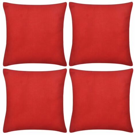 4 Red Cushion Covers Cotton 40 x 40 cm