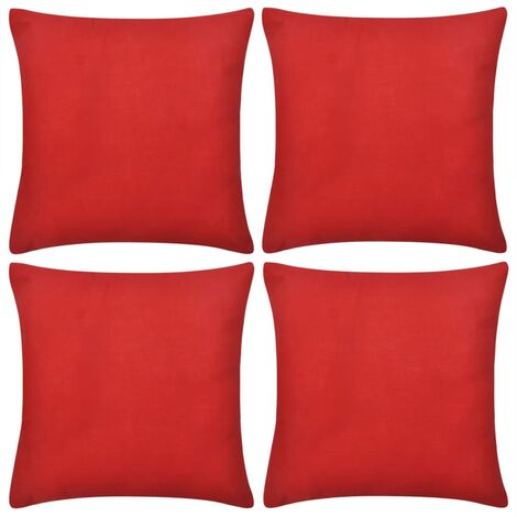 4 Red Cushion Covers Cotton 40 x 40 cm - Red